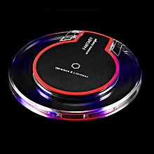 New Wireless Charging Dock Charger Crystal Round Pad With Receiver black