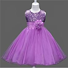 Sequined Princess Dress Girl Mesh Flower Princess Dress Christmas Dress For Children Show Dress Sleeveless -Purple 3-9Years
