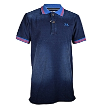 Blue Men's Denim Blue Collar Red Stripped Polo Shirts -Freestyle Streetwear