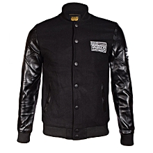 Black Fashionable Male Leather Jacket With Stand-Up Collar