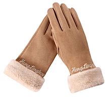 Africanmall store Womens Fashion Winter Solid Full Finger Hand Outdoor Sport Warm Gloves-Khaki