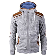 bluerdream-Men's Autumn Winter Long Sleeve Zipper Hooded Sweatshirt Tops Blouse GY/L- Gray