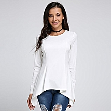 Celmia Womens Fashion Crew Neck Long Sleeve Irregular Hem Peplum Slim Tops Blouse Party T-Shirt Off White