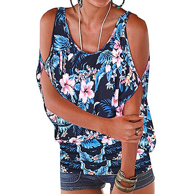 Women Printing Short Sleeve Cold Shoulder Vest Blouse T-Shir