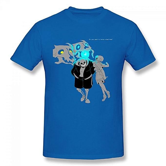 Undertale Sans Do You Want To Have A Bad Time Men's Cotton Short Sleeve  Print T-shirt Blue