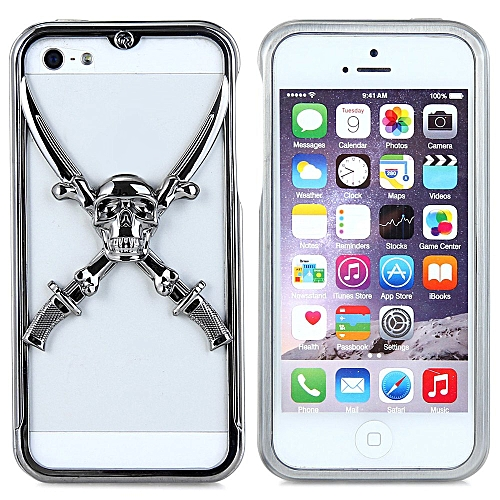 super popular a4974 9d009 Tungsten Steel Victory 3D Skull Metal per Frame Case with Safeguard Films  for Apple iPhone 5S 5 72391