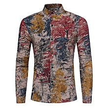 Colorful Plants Tie Dye Print Cotton Linen Shirt - RED