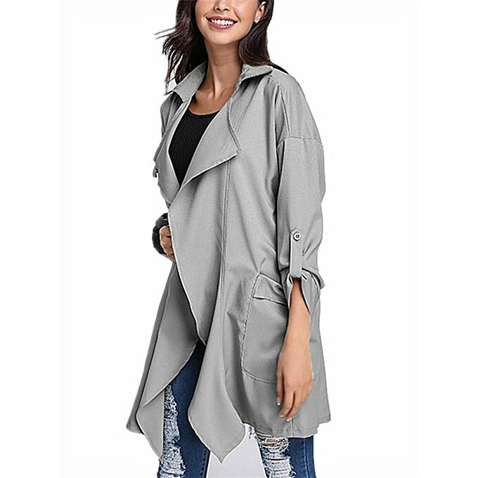 26fab79d513 ZANZEA PLUS SIZE Womens Lapel Slim Long Chiffon Parka Cardigan Jacket  Trench Coat New Beige Size