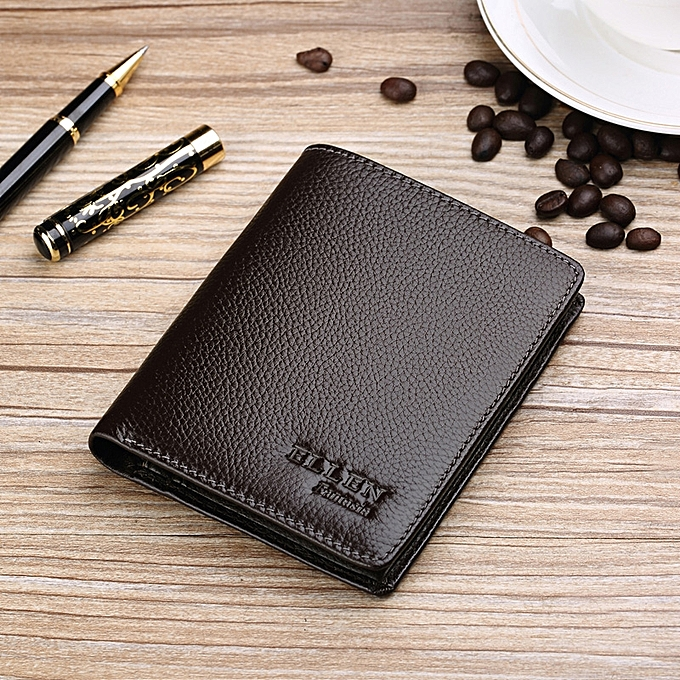 Coffee Shu Style LeatherLeather Purse Male Youth Students Money Clips Small Leather Wallet Tide Of