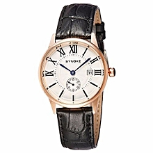 Movement Quartz  Leather Dual Dial Watch(Black&Gold)