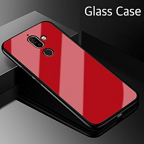 quality design 5d484 d68c3 Glass Case For Nokia 7 Plus Full Protection Tempered Glass Back Cover  Housing For Nokia 7 Plus Casing Shell 148745 (Red)