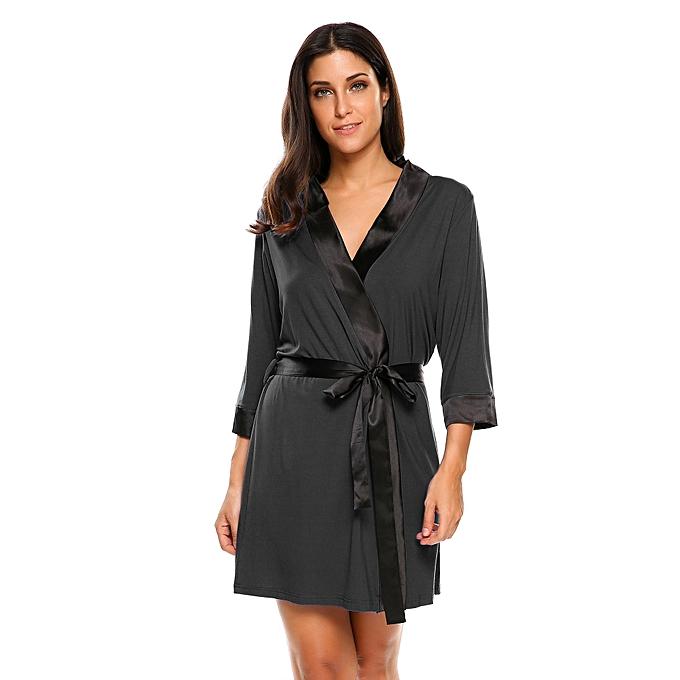 Women s Soft Spa Robe Collar Lightweight 3 4 Sleeve Sleepwear ( Black ) d7f776353