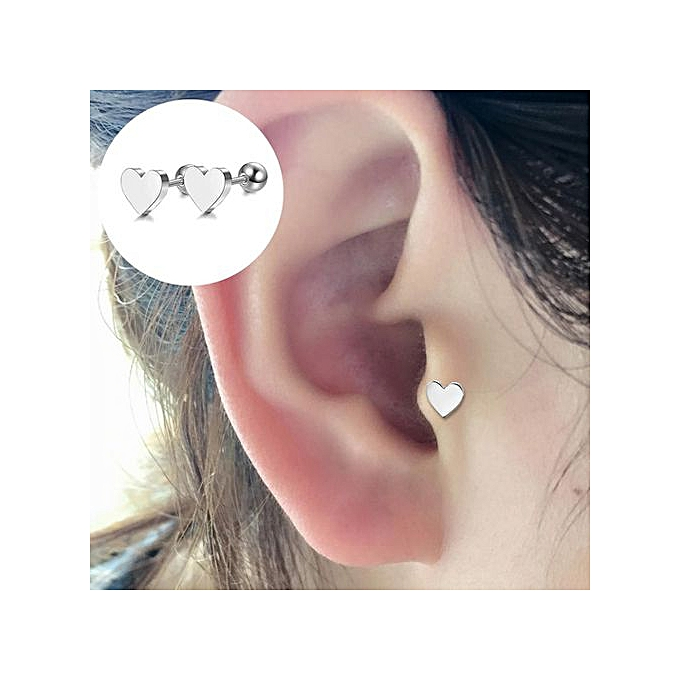 Simple Heart Alloy Ear Cartilage Tragus Piercing Stud Earrings Women Jewelry