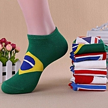 Men Women National Flag Sport Cotton Sport Ankle Low Cut Socks Casual Invisible Brazil Flag