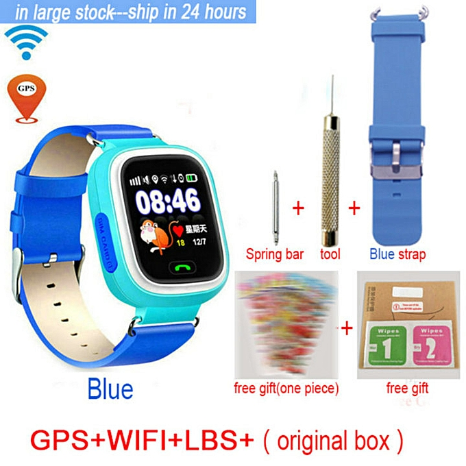 GPS Kids Smart Watch Phone Positioning Q90 Children Watch Color Touch  Screen WIFI SOS Smart Watch PK Q80 Q60 Location Finder(#add strap)