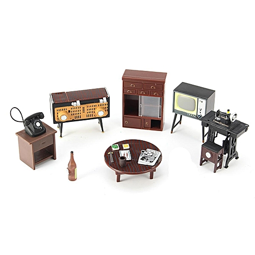 8pcs Sewing Machine Telephone Miniature Dollhouse Furniture Living Room Bedroom Decor