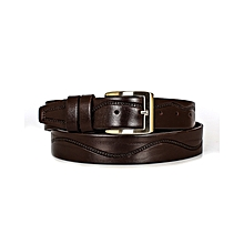 Dark Tan Genuine Leather Men's Belt