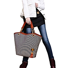 Duanxinyv-Women Girl Stripe Tassels Chain Canvas Shopping Handbag Shoulder Tote Shop Bag