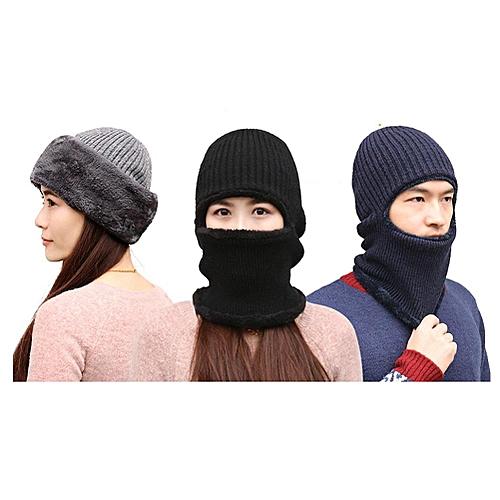 Generic Knitted Hat Scarf Cap Neck Warmer Winter Siamese Hood Hats For Men  Women Skullies Beanies Fleece   Best Price  13819d6c666b