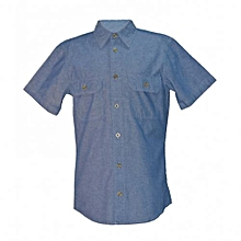 Blue Chambray Men's Short Sleeved Shirts