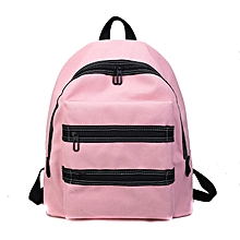 Canvas Boys and Girls Shoulder Bag School Bag with Double Zipper (Pink)