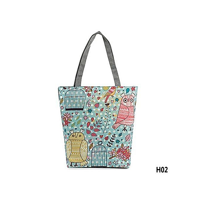 fcd33335ee38c New Fashion Owl And Floral Printed Canvas Tote Bag Female Casual Large  Capacity Bags Daily Use