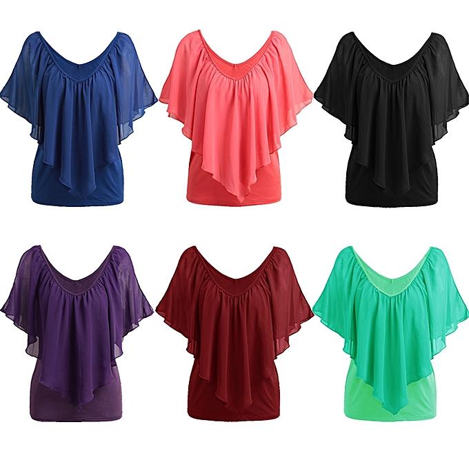 effbc45e12c68 ... Sexy Women Blouse V Neck Cold Shoulder Ruffles Sleeveless Solid T-Shirt  Vest Tank Summer ...