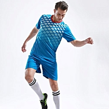 1 Set Fashion Children Boy And Men's Football Team Training Soccer Jersey Uniform-Blue
