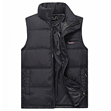 Mens Warm Stand Collar Vest Sleeveless Jacket