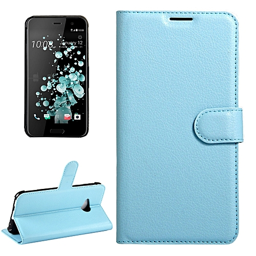 08360224015993 Generic For HTC U Play Litchi Texture Horizontal Flip Leather Case with  Magnetic Buckle and Holder and Card Slots and Wallet (Blue)