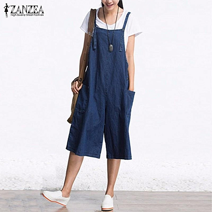 bf6eaa74a616 ZANZEA Rompers Womens Jumpsuit Summer Autumn Sleeveless Fashion Wide Leg  Pants Denim Calf Length Vintage Overalls