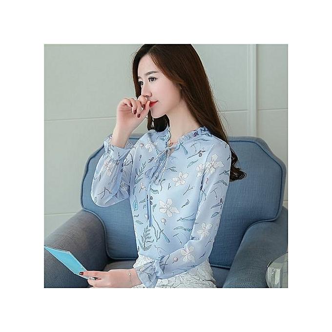 50a26da27b98 Spring & Summer Korean Fashion Long-sleeved Loose Thin Printed Chiffon  Women Shirt Floral Sweet