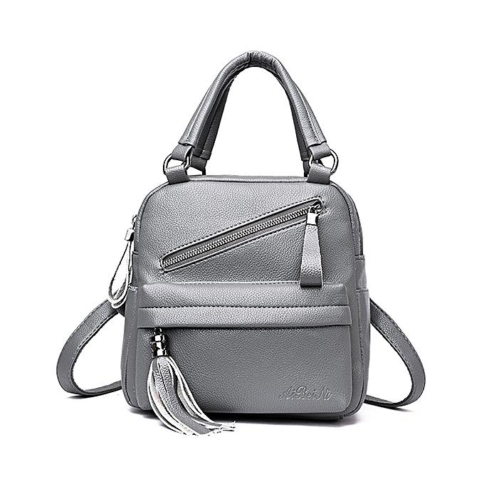 ... Women Casual Handbag Solid Soft Faux Leather Backpack Multi-function Crossbody  Bag ... 84f26cb8386e1