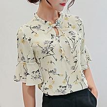 2bab7ba42cd New women  039 s bottoming shirt fashion slim short-sleeved casual chiffon  shirt