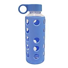 Glass Water Bottle - 460ml - Blue