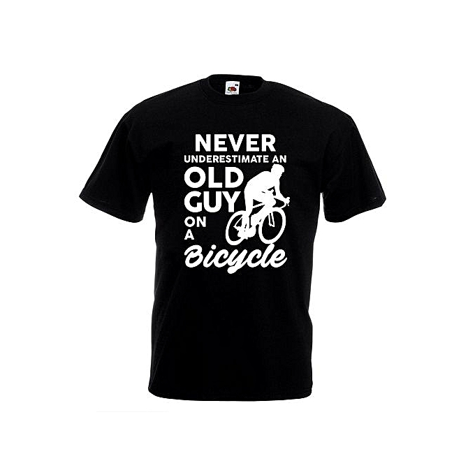 4f32266b Never Underestimate Old Guy On Bike T-shirt Joke Funny Cycling Gift Cyclist  Top Men