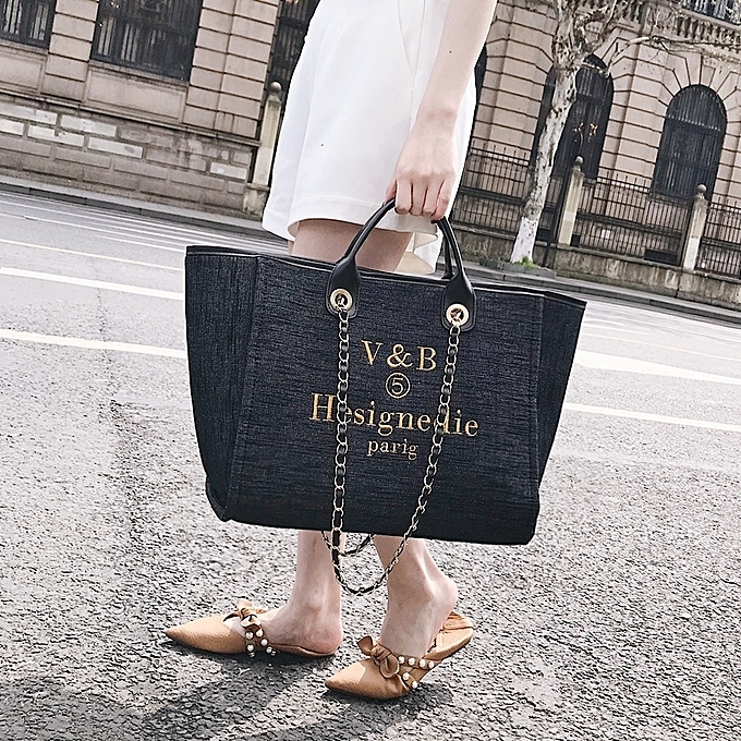 Boutique Denim Handbags Europe And The United States Fashion Letters Bag Chain Shoulder