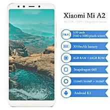 "Mi A2 4G 5.99"" 4GB RAM 64GB ROM Android 8.1 3010mAh Octa Core 2.2GHz - GOLD"