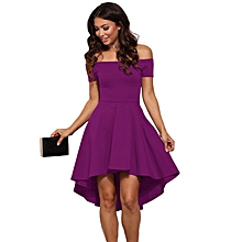Off Shoulder Strapless Princess Dovetail Tube Dress Sexy Elegant Slim Party High Low Purple Dress Summer women midi dress-purple