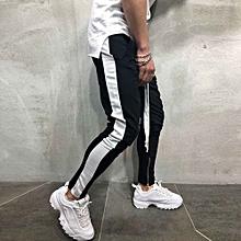 huskspo Men Sweatpants Casual Elastic Joggings Sport Striped Baggy Pockets Trousers