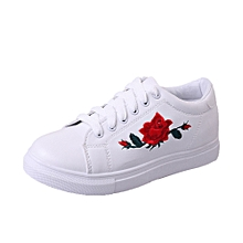 Fashion Women's Straps Sports Running Sneakers Embroidery Flower Shoes WH/36-White  -CN SIZE