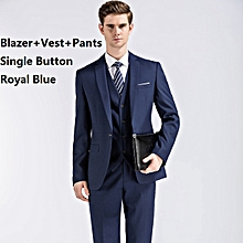 (Blazer+Pants+Vest) 3 Pieces Men Suit Slim Fit Wedding Business Wear Formal Men Suit Blue