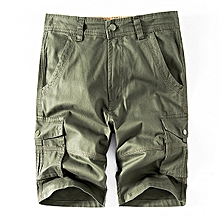Men's Summer Leisure Loose Cotton Cargo Shorts Outdoor Big Pocket Solid Color Shorts
