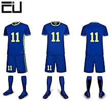 Customized Youth Men's Football Soccer Team Sports Shirts Shorts Jersey-Blue(6109)