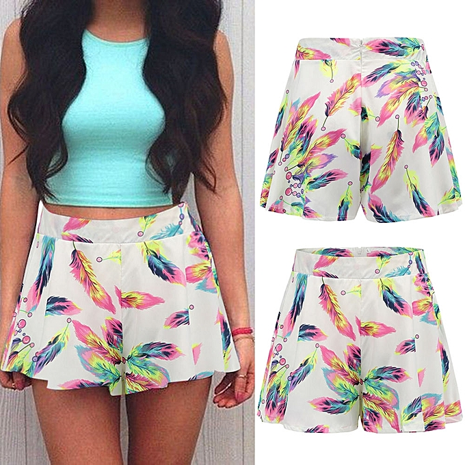 80aa827b4eba duanxinyv Women Feather Printed Short Pants Casual Beach Shorts Loose Short  Trousers