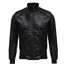 Male Warm Slim Leather Coat - Black