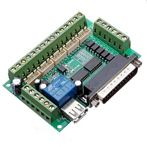 5 Axis CNC Breakout Board Interface Adapter Fr Stepper Motor Driver Mach3  +Cable
