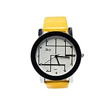 Analog Ladies Men Pu Leather Wrist Watch - Yellow