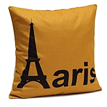 Cushion Cover  45X45cm Printed Linen Sofa Pillow Cases Home Furnishing Country Style (Yellow Paris)