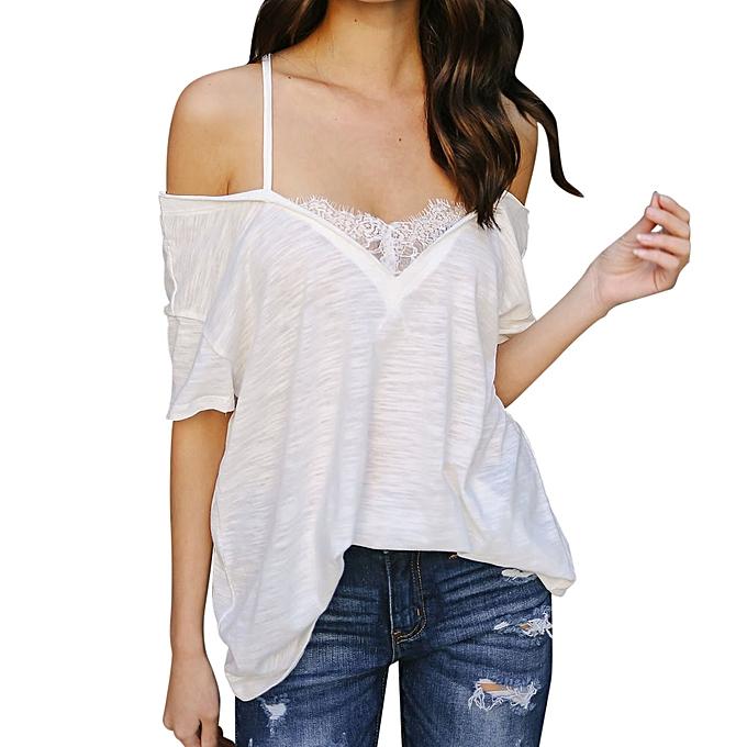 eceadd27c2a8 Generic Women Ladies Lace Off Shoulder T-Shirt Short Sleeve Casual ...